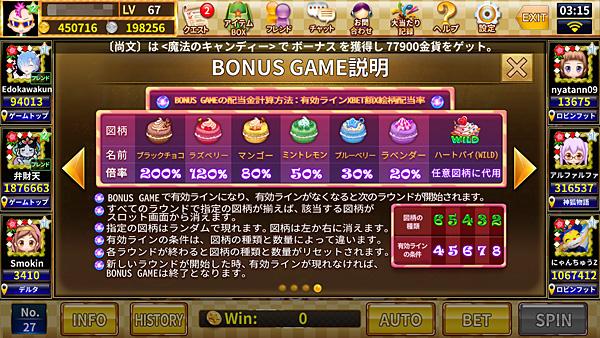 魔法のキャンディ ボーナスゲーム